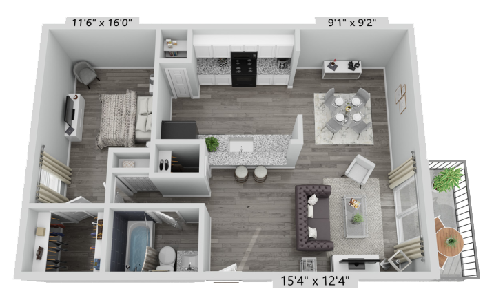 A A1 unit with 1 Bedrooms and 1 Bathrooms with area of 719 sq. ft
