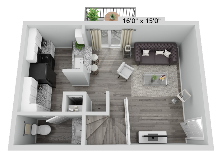 A A2 unit with 1 Bedrooms and 1.5 Bathrooms with area of 786 sq. ft