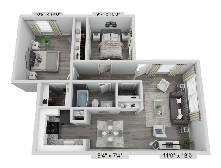 A B1 unit with 2 Bedrooms and 1 Bathrooms with area of 862 sq. ft