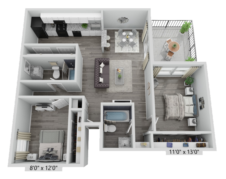 A B2 unit with 2 Bedrooms and 2 Bathrooms with area of 930 sq. ft