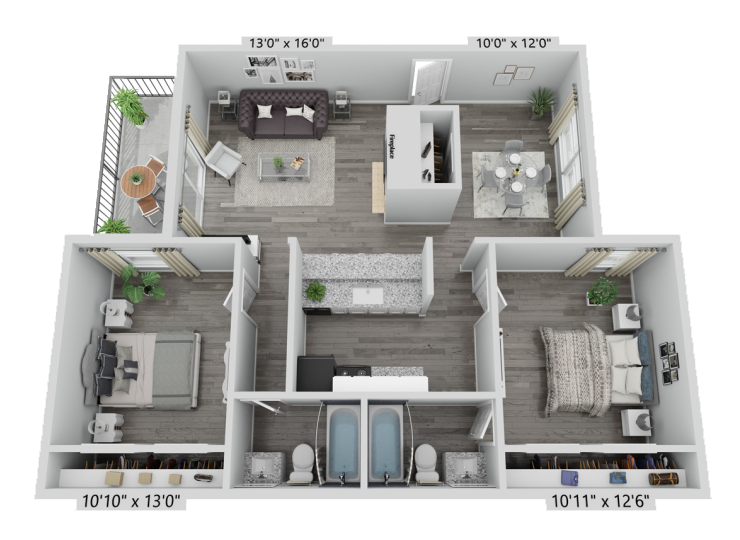 A B3 unit with 2 Bedrooms and 2 Bathrooms with area of 1156 sq. ft