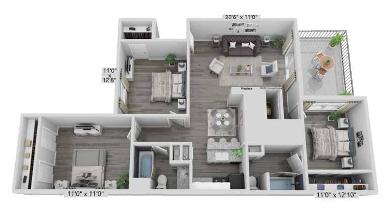 A C1 unit with 3 Bedrooms and 2 Bathrooms with area of 1236 sq. ft